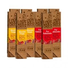 10x Lovechock rohe Bio-Schokolade Pur / Kakaosplitter