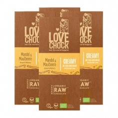 4 x Lovechock Mylk Mullbär/Mandel, vegansk choklad, EKO