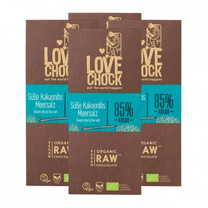 4 x Lovechock Øko-Tablets Søde Kakaonibs & Havsalt