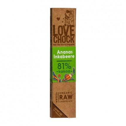 Lovechock økologisk rå-sjokolade med ananas og inkabær