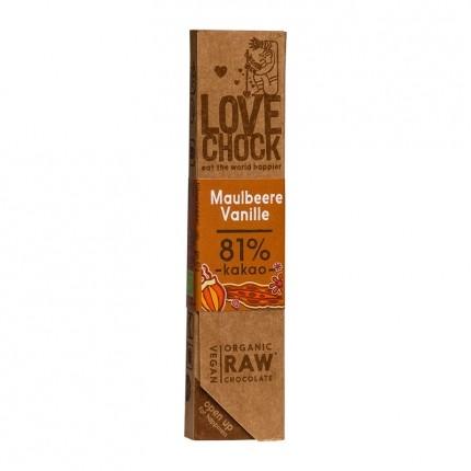 Lovechock økologisk rå-sjokolade med morbær og vanilje