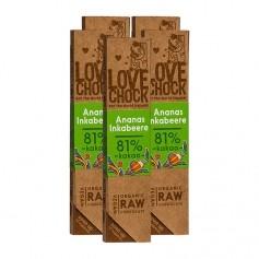 5 x Lovechock rohe Bio-Schokolade Ananas/Inkabeere