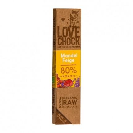 Barre chocolatée aux amandes et à la figue bio de Lovechock Pur