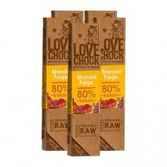 6x Lovechock rohe Bio Schokolade Mandel/Feige