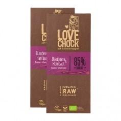 2 x Lovechock Råchoklad med blåbär & hampafrön, EKO