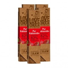 5 x Lovechock rohe Bio-Schokolade Pur / Kakaosplitter
