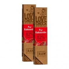 2 x Lovechock rohe Bio-Schokolade Pur / Kakaosplitter