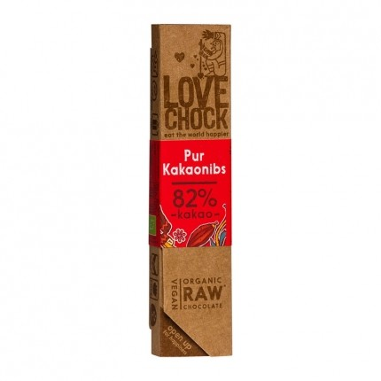 3 x Lovechock rohe Bio-Schokolade Pur / Kakaosplitter