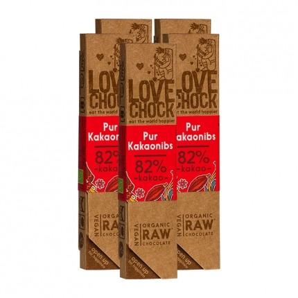Lovechock rohe Bio-Schokolade Pur/Kakaonibs (5 x 40 g)