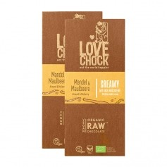 Lovechock, Tablette bio Mylk, mûre/amande, lot de 2