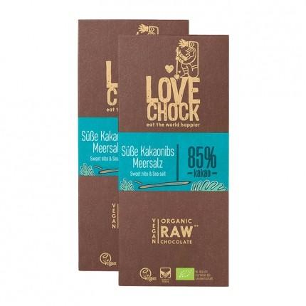 2 x Lovechock Bio-Tablets Süße Kakaonibs & Meersalz
