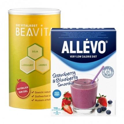 Måltidserstatningspakke: Allévo Jordbær/Blåbær Shake og BEAVITA Vanilje, Pulver