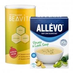 Måltidserstatningspakke: Allévo Suppe Kartoffel/Porre og BEAVITA Vanilje, Pulver
