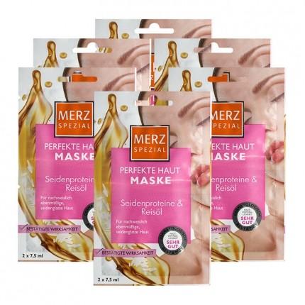 6 x Merz Spezial Hautglättende Maske mit Seidenproteinen & Reisöl