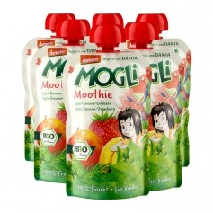 6 x Mogli Moothie Bio-Fruchtsnack Apfel-Banane-Edbeere