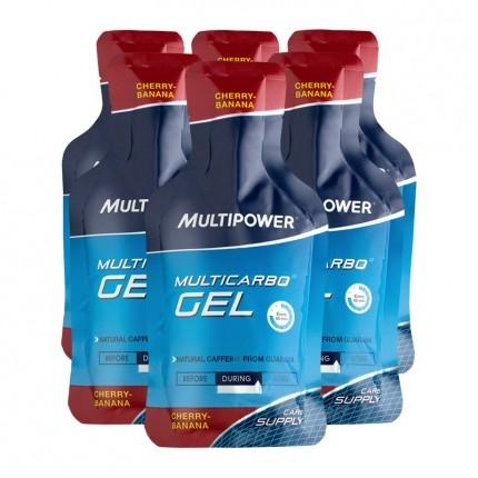 Multipower, Multicarbo, cerise-banane, gel, lot de 6