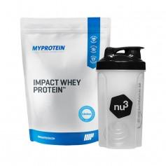 MyProtein Impact Whey Vanilla, Pulver + nu3 Shaker