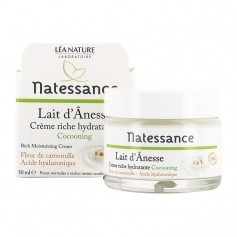 Natessance Crème riche hydratante lait d'ânesse  Rich moisturizing cream - donkey milk