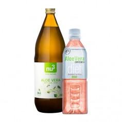 2 sorters Aloe Vera drycker: granatäpple och naturell