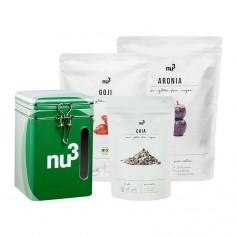 nu3 Beeren und Chia-Paket mit Naturdose