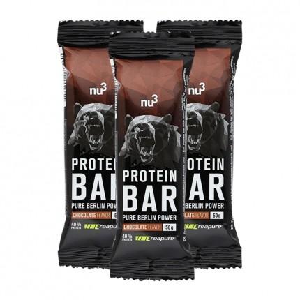 nu3, Barre protéinée 40%, chocolat, lot de 3