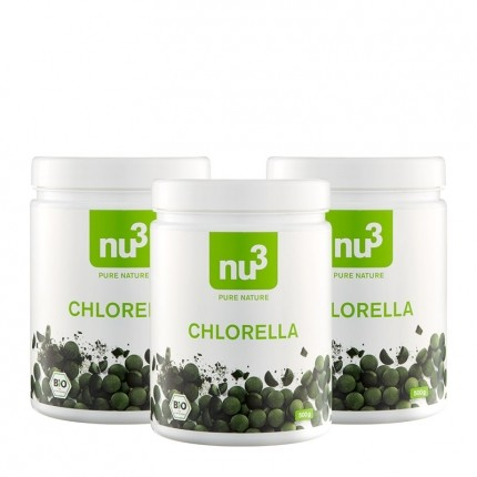 3 x nu3 Chlorella, Bio-Tabletten