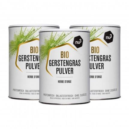 3 x nu3 Bio Gerstengras, Pulver