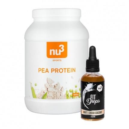 nu3 Erbsenprotein + Fit Drops, Weiße Schoko-Kokos