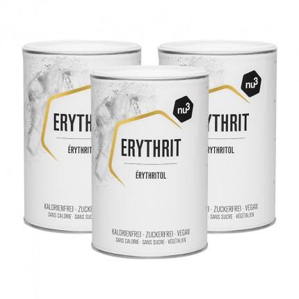 nu3, Érythritol, substitut de sucre, poudre, lot de 3