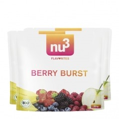 3 x nu3 Flavorites Berry Burst Økologisk Smoothie, Pulver