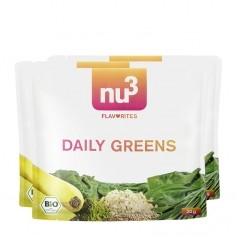 3 x nu3 Flavorites Daily Greens EKO-Smoothie, pulver