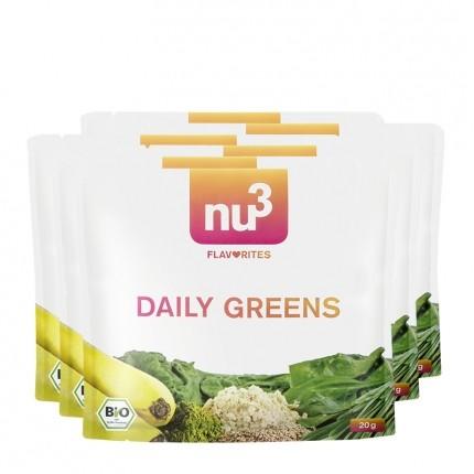 6 x nu3 Flavorites Daily Greens Økologisk Smoothie, Pulver