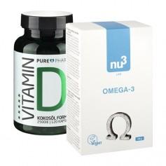 Hälsopaket: nu3 Omega-3- vegan & PurePharma Vitamin D3