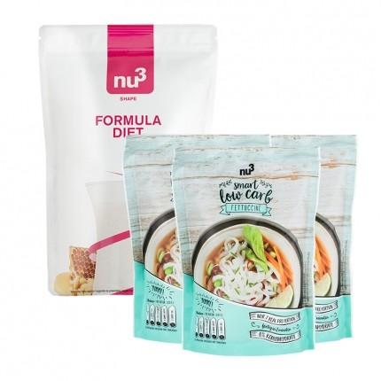 nu3 Low-Carb-Diæt Pakke: nu3 Formula Diet + 3 x Low Carb Fettuccine