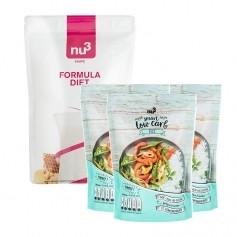 nu3 Low-Carb-Diæt Pakke: nu3 Formula Diet + 3 x Low Carb Rice