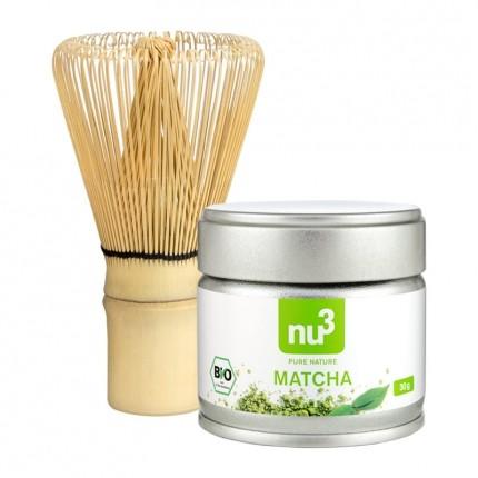 nu3 økologisk Matcha-te, pulver + nu3 Matcha-piskeris