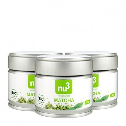3 x nu3 økologisk Matcha-te, pulver