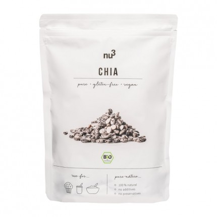 3 x nu3 Organic Chia,  whole seeds with a nature can