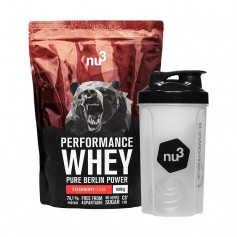 nu3 Performance Whey Strawberry plus Shaker