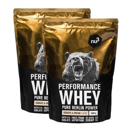 2 x nu3 Performance Whey -heraproteiinijauhe, cookies&cream
