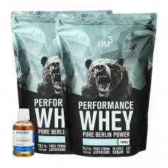 nu3 Performance Whey, Neutral plus MyProtein Vanille FlavDrops