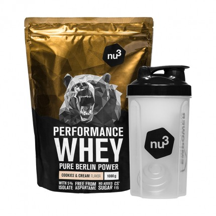 nu3 Performance Whey Cookies & Cream plus Shaker