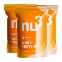 nu3, Protéine Whey +, vanille, lot de trois, poudre