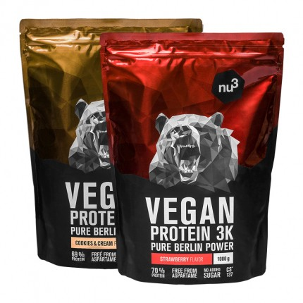 nu3 Vegan Protein 3K Probierpaket (Cookies-Cream & Erdbeere), AMZ