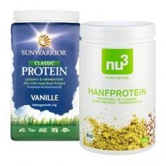 2 sorters vegansk protein - Sunwarrior Ris och nu3 Hampaprotein Eko
