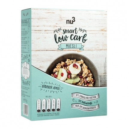 nu3 Smart Low Carb Müsli, Erdbeer-Apfel