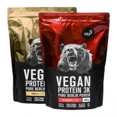 nu3 Vegan Protein 3K, pacchetto, vaniglia e fragola