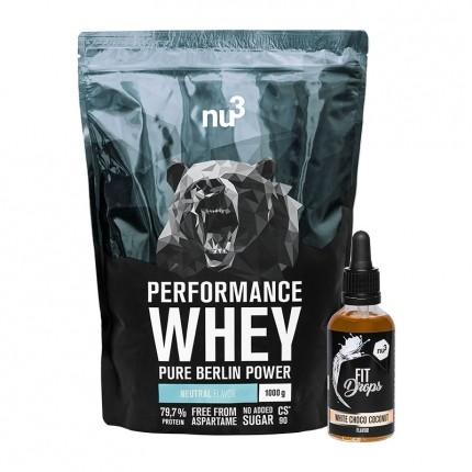nu3 Performance Whey, Neutral + Fit Drops, Weiße Schoko-Kokos