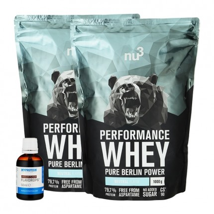 nu3 Performance Whey, Neutral plus MyProtein FlavDrops, Schoko