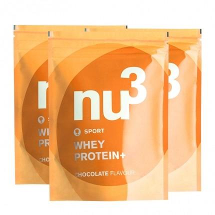 3 x nu3 Whey Protein+ sjokolade, pulver